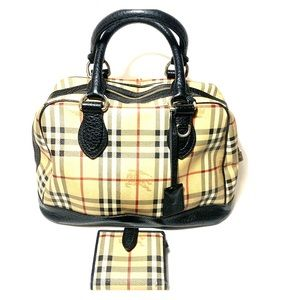 Burberry Bowler Tote & Wallet Damaged Use Fabric